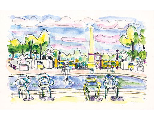 "Buy the original watercolor ""View of the Place de la Concorde from the Tuileries"" (large) by Ivo Hauptmann (Painter, Expressionism) at our gallery."