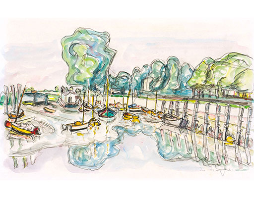 "Buy the original watercolor ""Boats at the outer Alster"" (large) by Ivo Hauptmann (Painter, Expressionism) at our gallery."