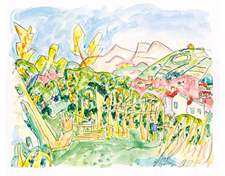 "Buy the original watercolor ""Cagnes"" (small) by Ivo Hauptmann (Painter, Expressionism) at our gallery."