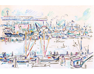 "Buy the original watercolor ""Hamburg harbour"" (small) by Ivo Hauptmann (Painter, Expressionism) at our gallery."