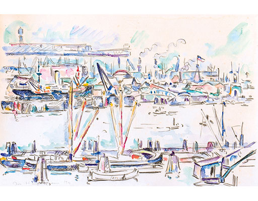 "Buy the original watercolor ""Hamburg harbour"" (large) by Ivo Hauptmann (Painter, Expressionism) at our gallery."