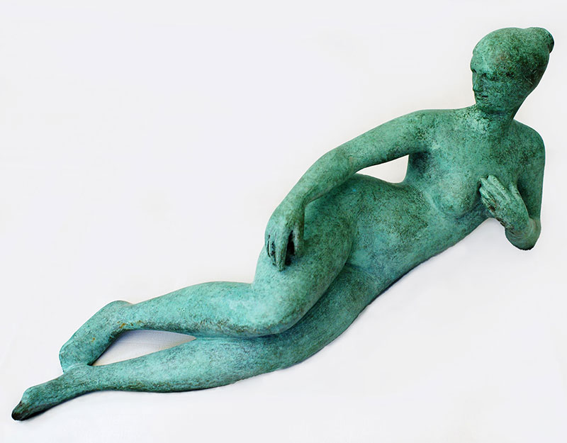"""Buy the original sculpture """"Josephine with apple"""" by Karl-Heinz Krause (Sculptor) at our gallery."""