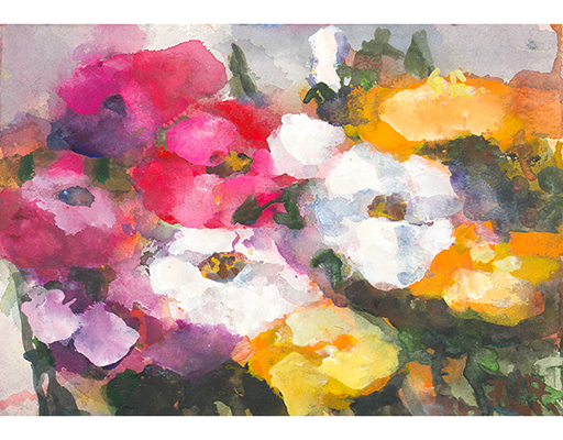 "Buy the original watercolor ""Roses"" (large) by Klaus Fußmann at our gallery."