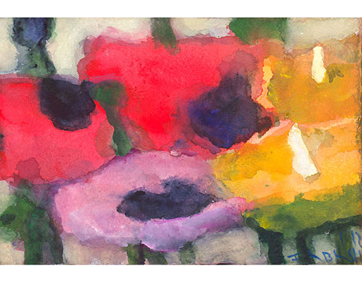 "Buy the original watercolor ""Poppies and calla"" (large) by Klaus Fußmann at our gallery."