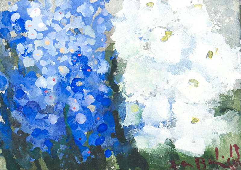 """Buy the original watercolor """"Forget-me-nots and white phlox"""" by Klaus Fußmann at our gallery."""