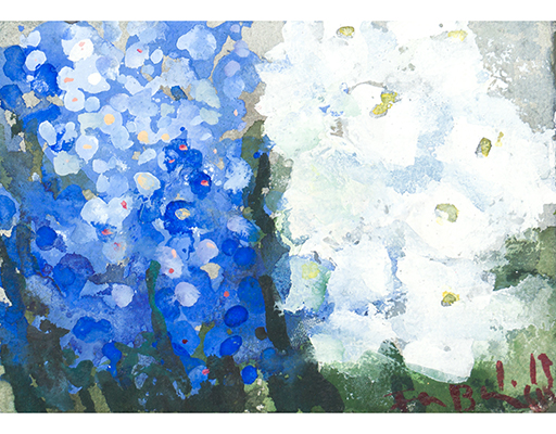 "Buy the original watercolor ""Forget-me-nots and white phlox"" (large) by Klaus Fußmann at our gallery."