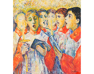 "Buy the original watercolor ""Choirboys"" (small) by Ulrich Leman (Painter, Expressionism) at our gallery."