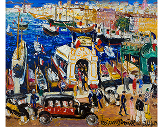 """Buy the original oil painting """"Harbour in Marseille"""" (small) by Lucien Génin (Painter, Post-Impressionism) at our gallery."""